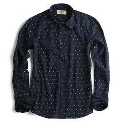 Camisa-de-Tecido-Manga-Longa-Estampada-Azul-Marinho