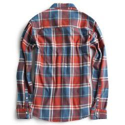 Camisa-de-Tecido-Flanelada-Manga-Longa-Azul-Jeans-Vinho