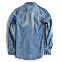 Camisa-de-Tecido-Jeans-Manga-Longa