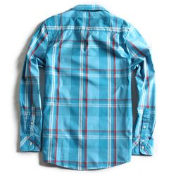 Camisa-de-Tecido-Xadrez-Manga-Longa-Azul-Turquesa
