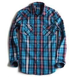 Camisa-de-Tecido-Xadrez-Manga-Longa-Azul-Marinho