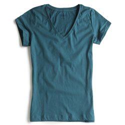 T-shirt-Gola-V-Azul-Jeans-Feminina