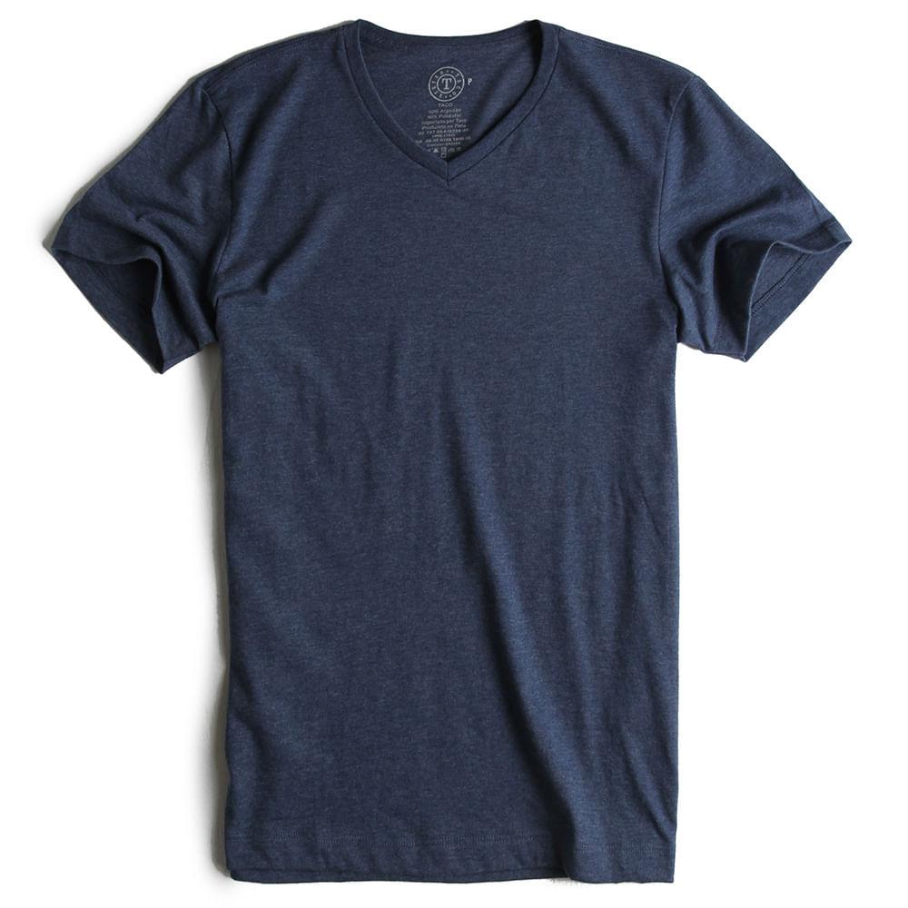 T-shirt-Gola-V-Azul-Marinho-Mescla