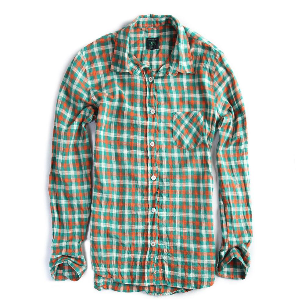 Camisa-de-Tecido-Xadrez-Verde-Laranja-Feminina