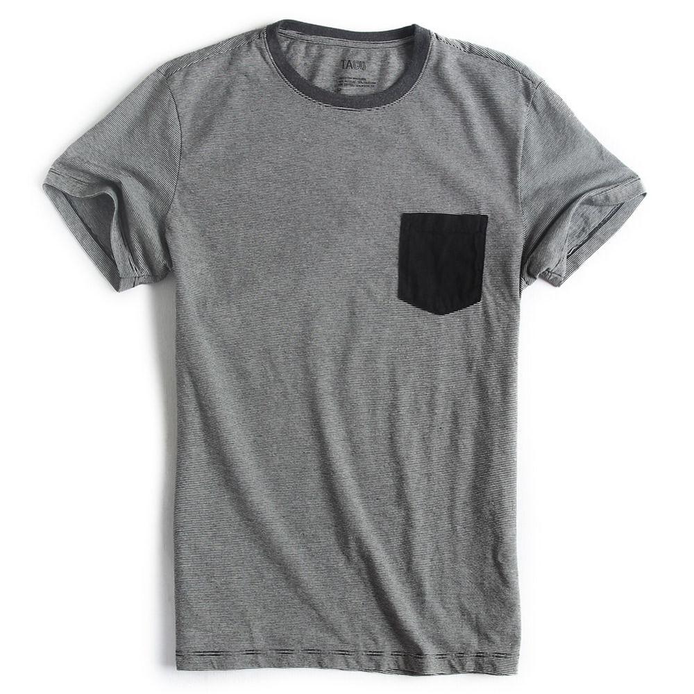 T-shirt-com-Bolso-Listrada-Preto-Cinza