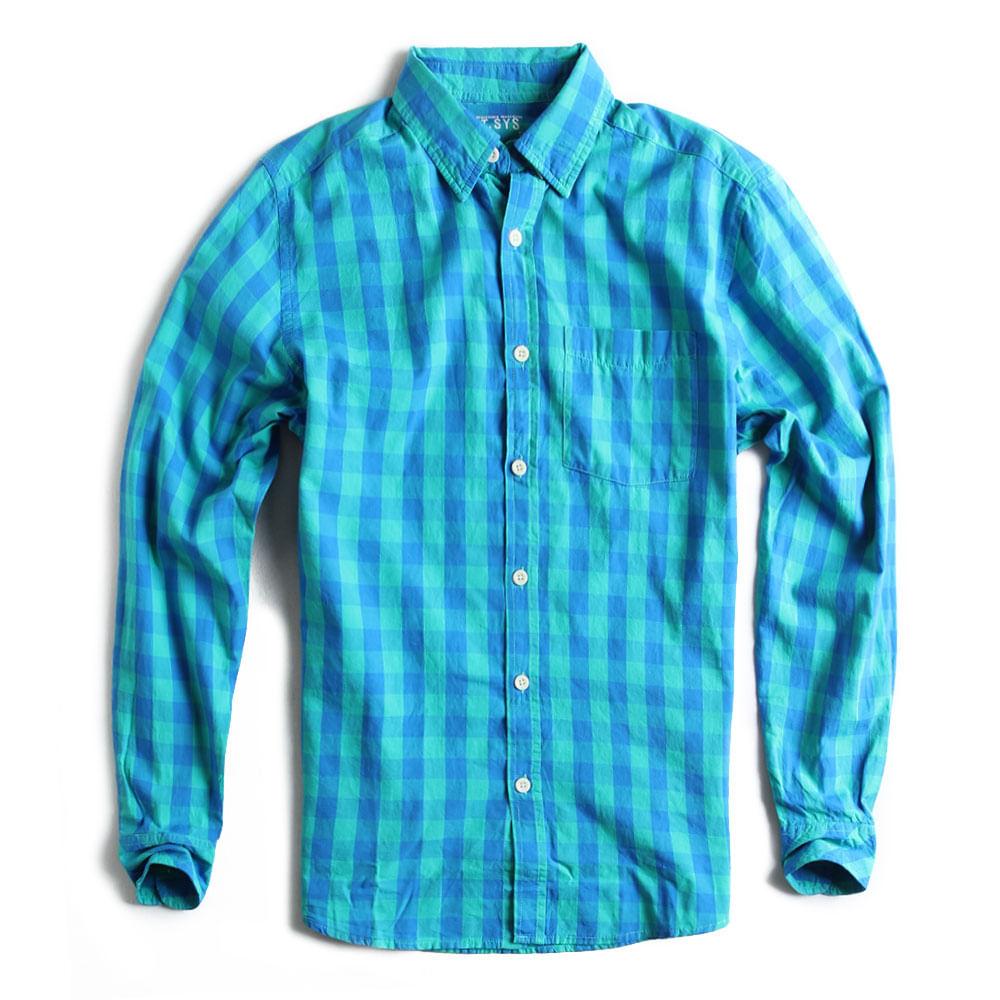 Camisa-Xadrez-Manga-Longa-Verde-Azul