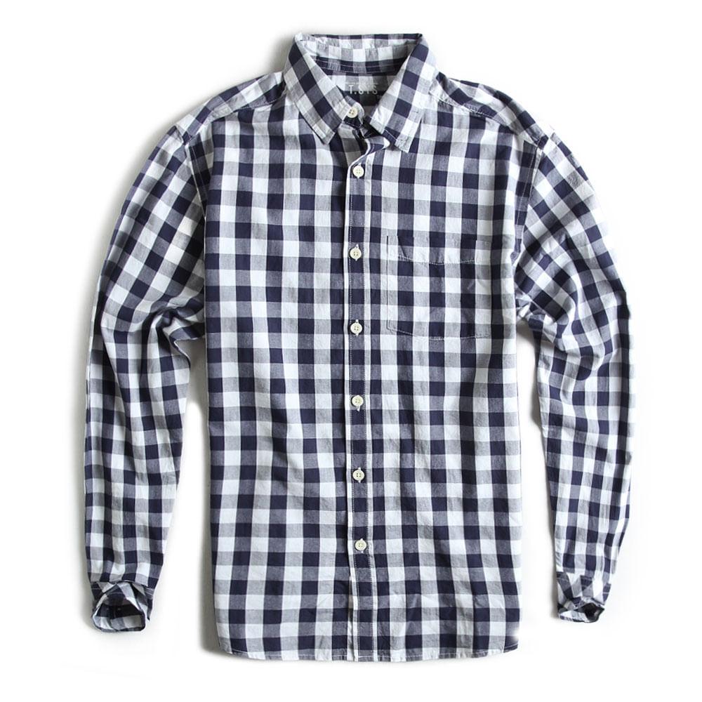 Camisa-Xadrez-Manga-Longa-Branco-Marinho