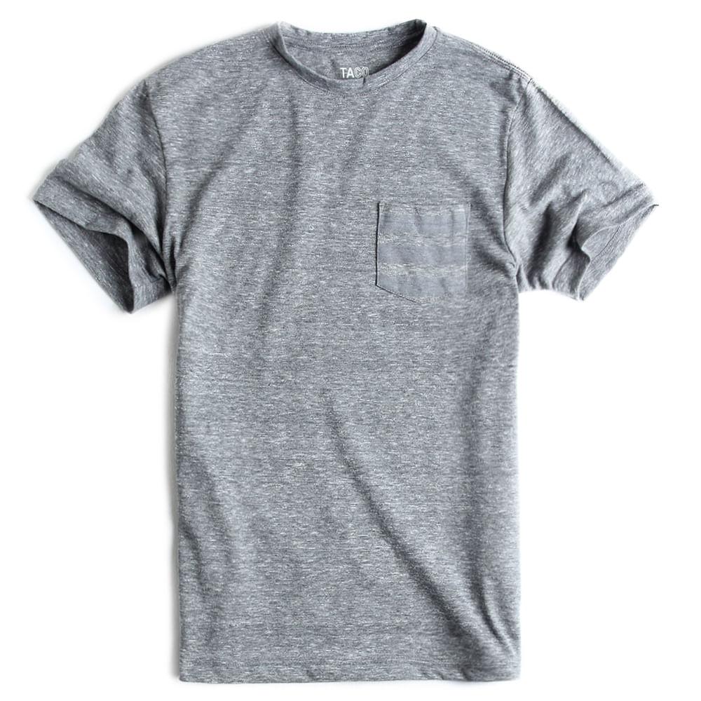 T-shirt-Com-Bolso-Lisa-Cinza-Mescla