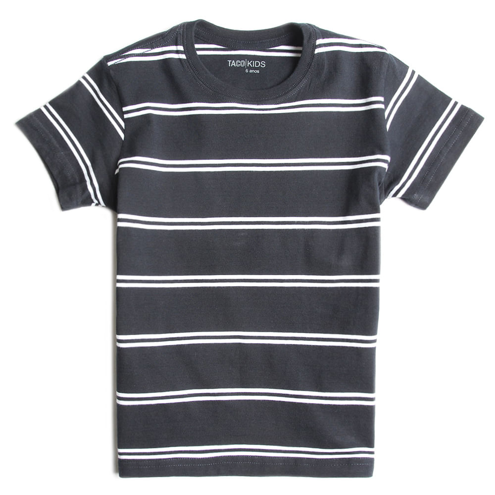 T-shirt-Listrada-Preto-Branco-Infantil-Masculina