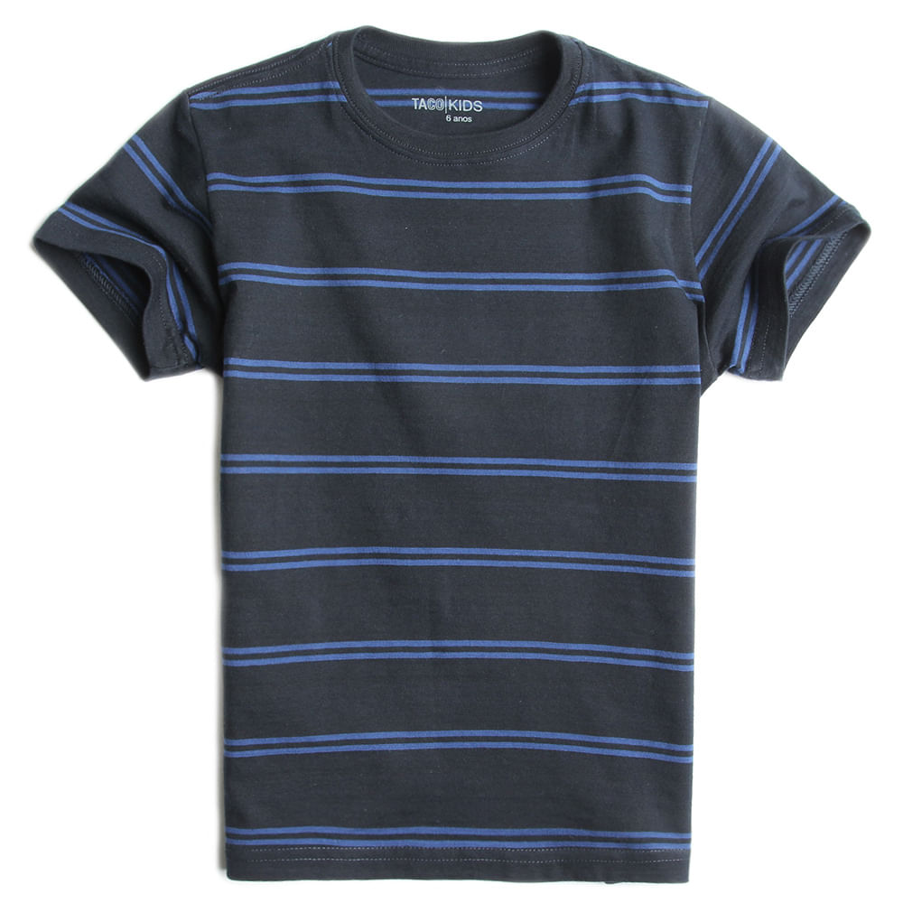 T-shirt-Listrada-Preto-Azul-Infantil-Masculina