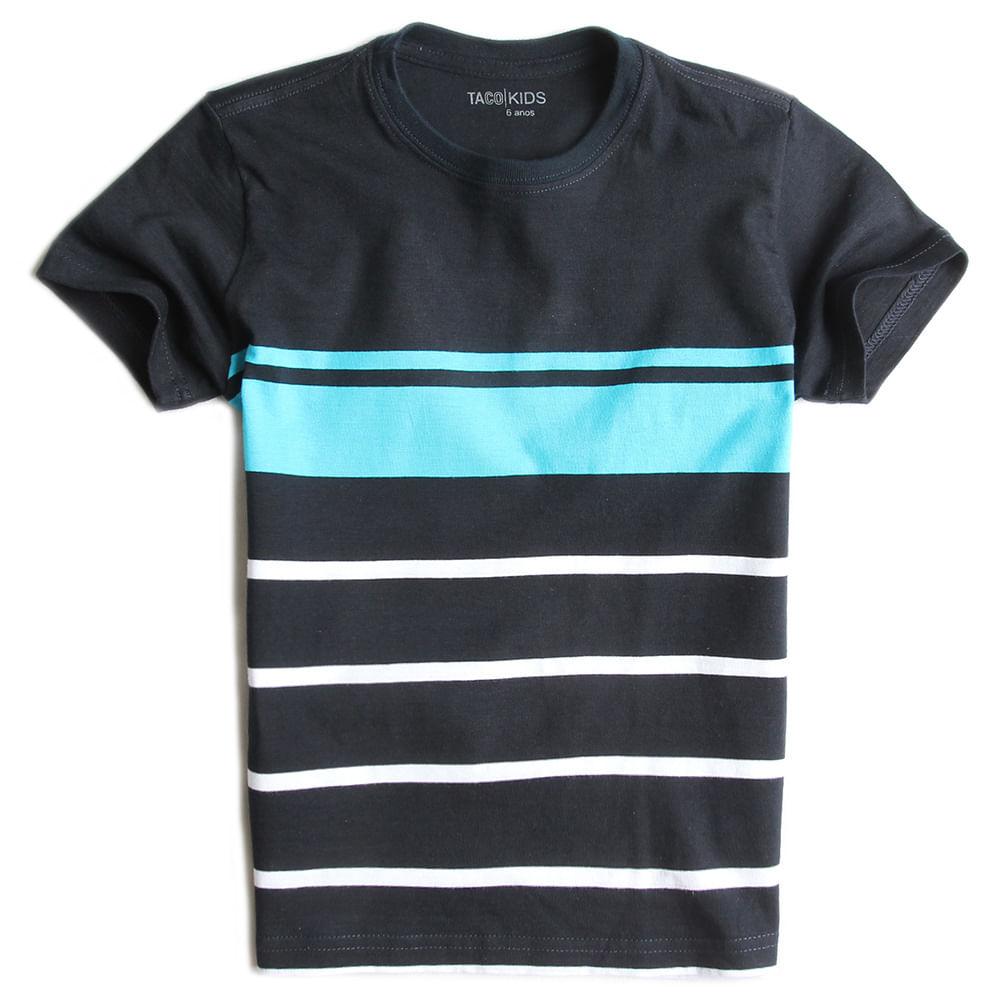 T-shirt-Listrada-Preto-Azul-Branco-Infantil-Masculina