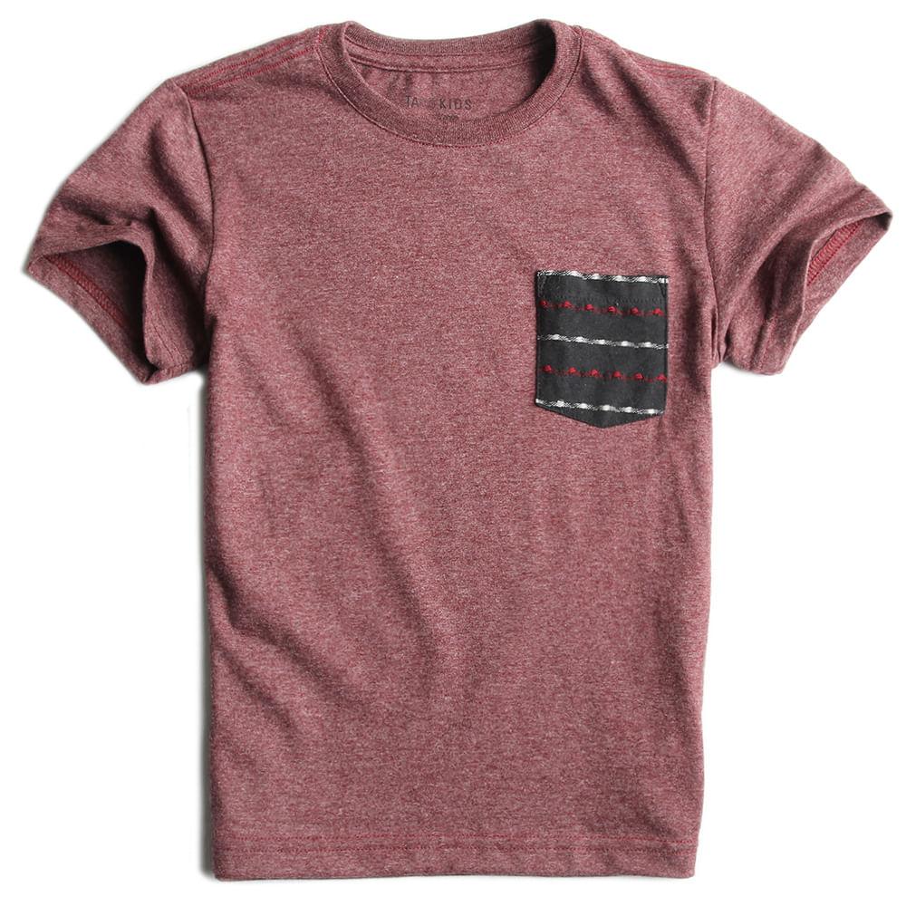 T-shirt-Com-Bolso-Lisa-Vinho-Mescla-Infantil-Masculina