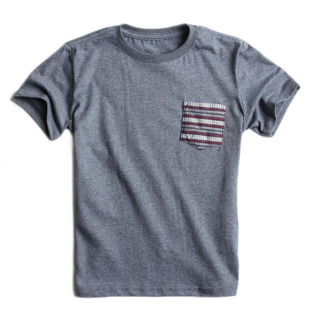 T-shirt-Com-Bolso-Lisa-Azul-MArinho-Mescla-Infantil-Masculina