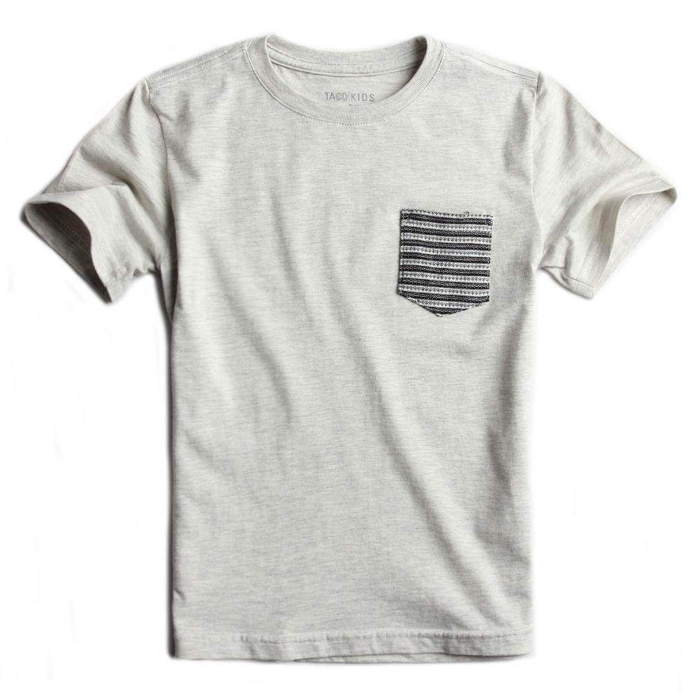 T-shirt-Com-Bolso-Lisa-Cru-Mescla-Infantil-Masculina