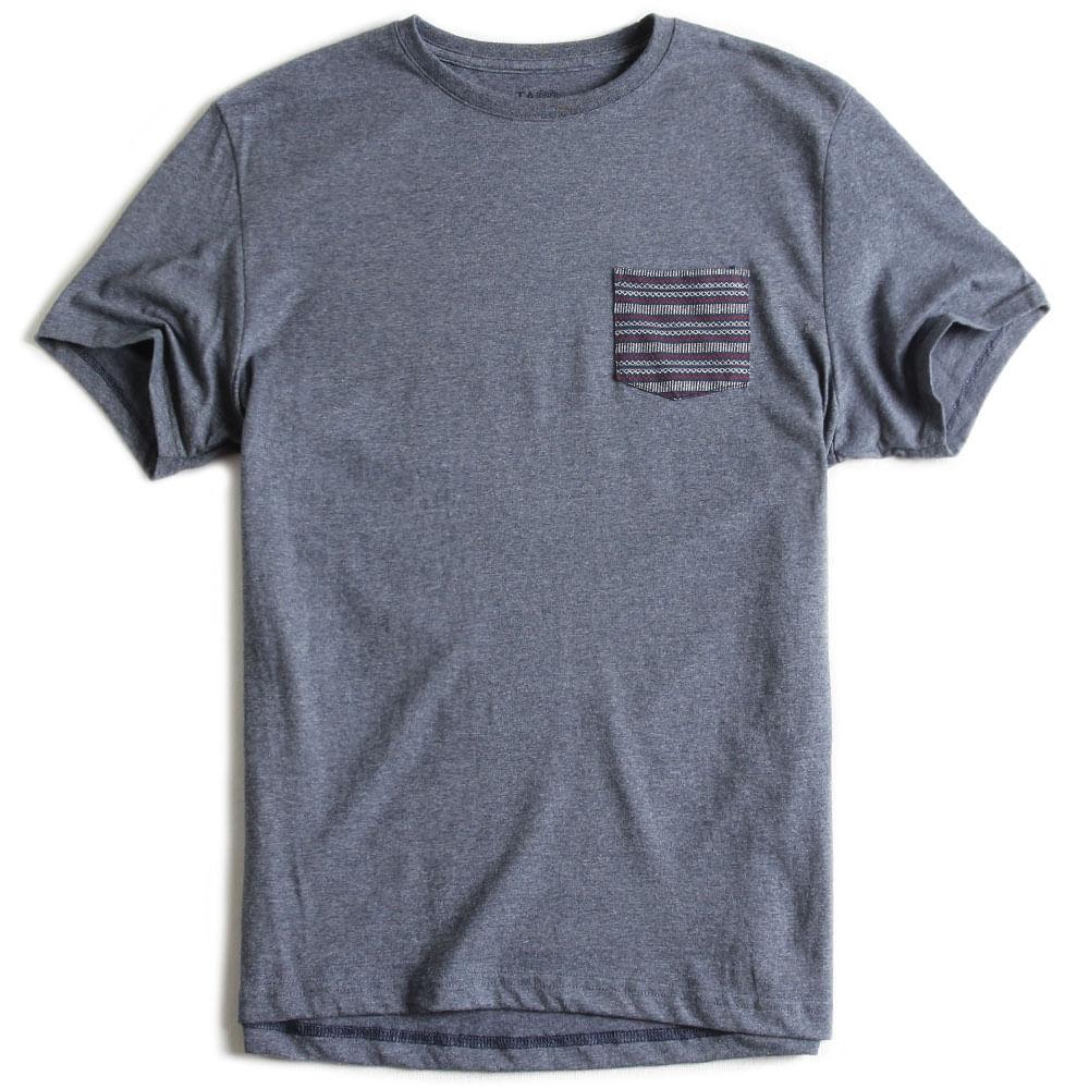 T-shirt-Com-Bolso-Lisa-marinho-Mescla