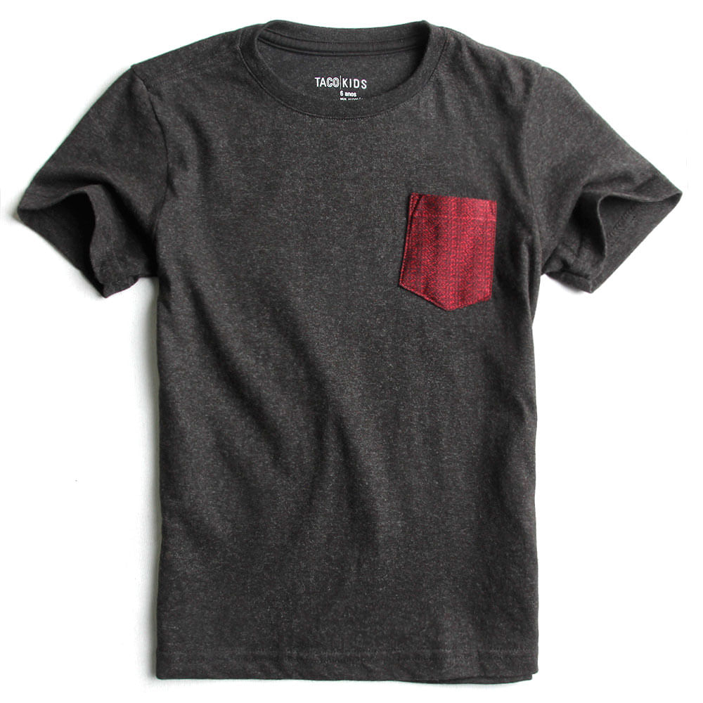 T-shirt-Com-Bolso-Lisa-Preto-Mescla-Infantil-Masculina