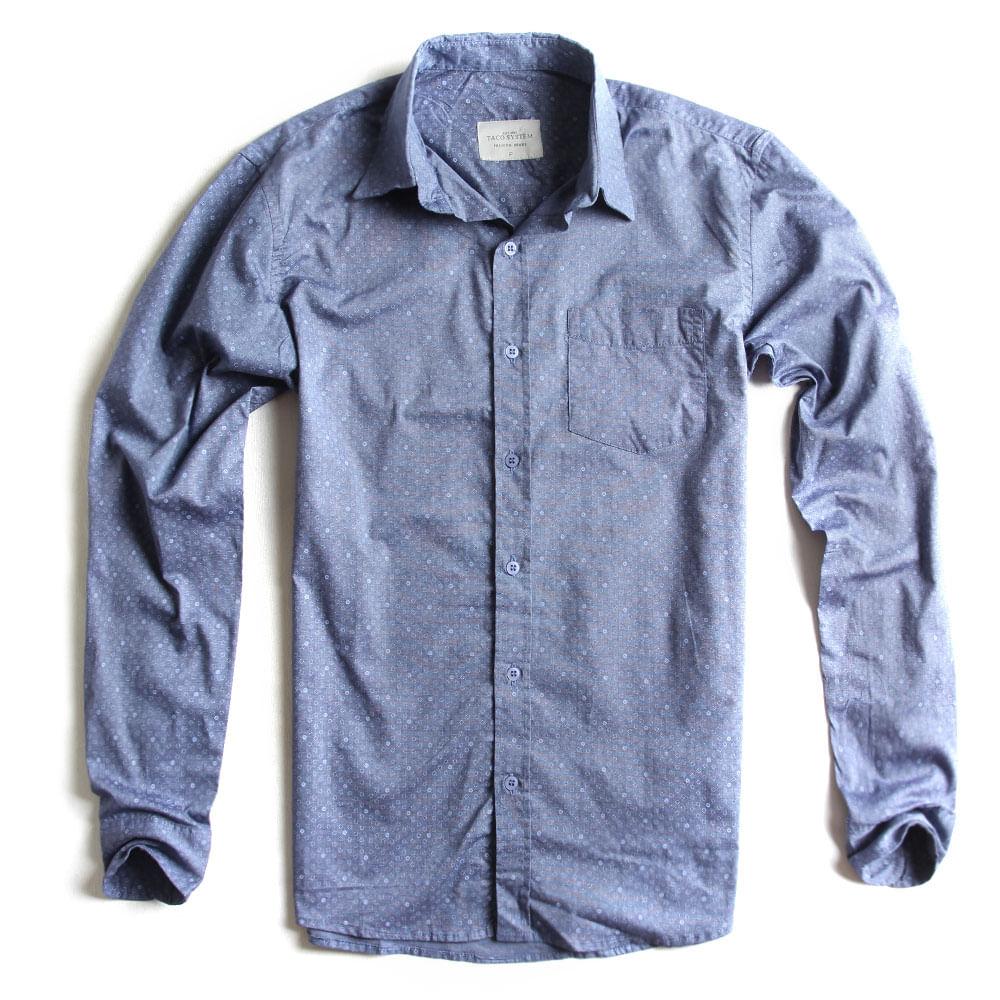 Camisa-de-Tecido-Estampada-Manga-Longa-Azul