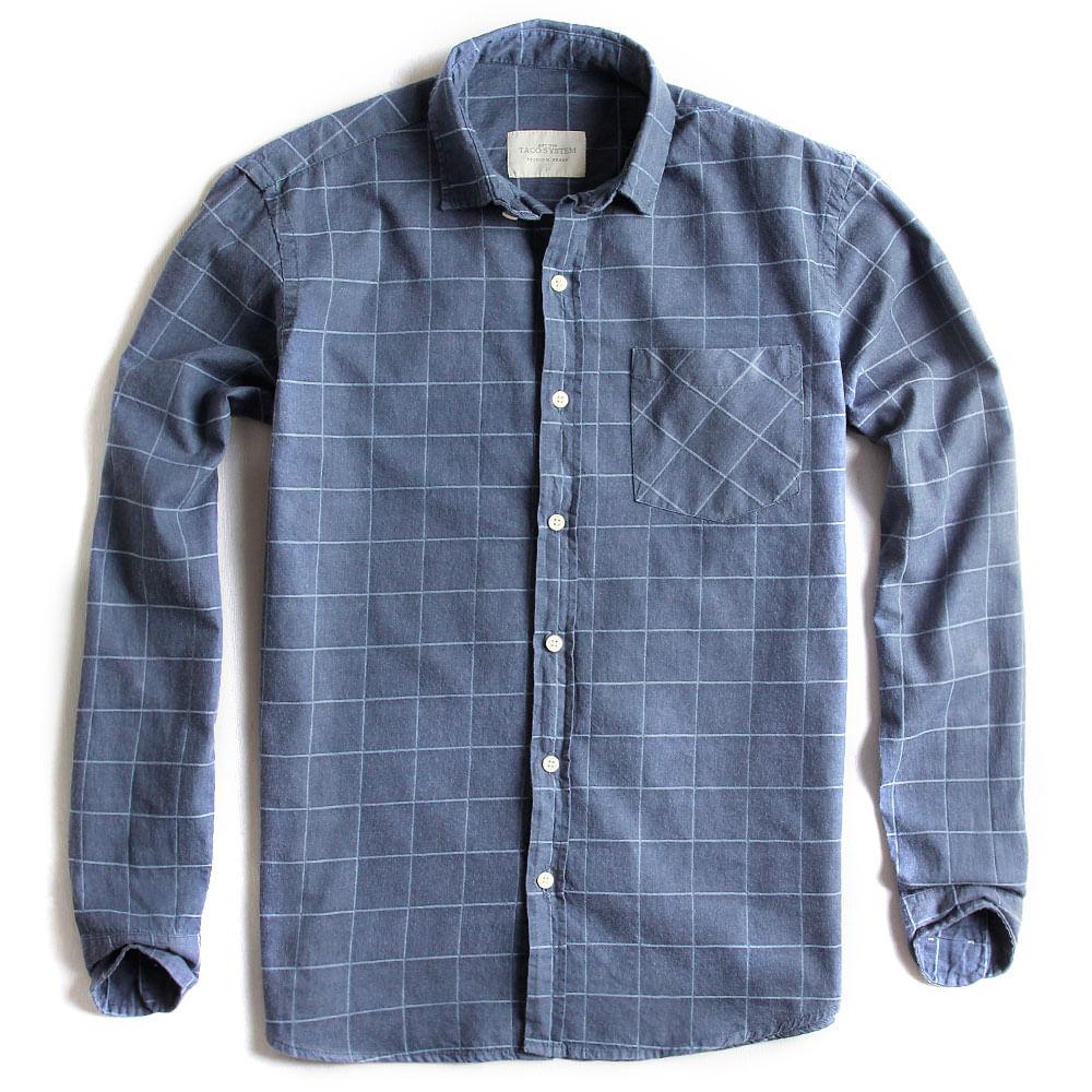 Camisa-de-Tecido-Manga-Longa-Jeans-Xadrez
