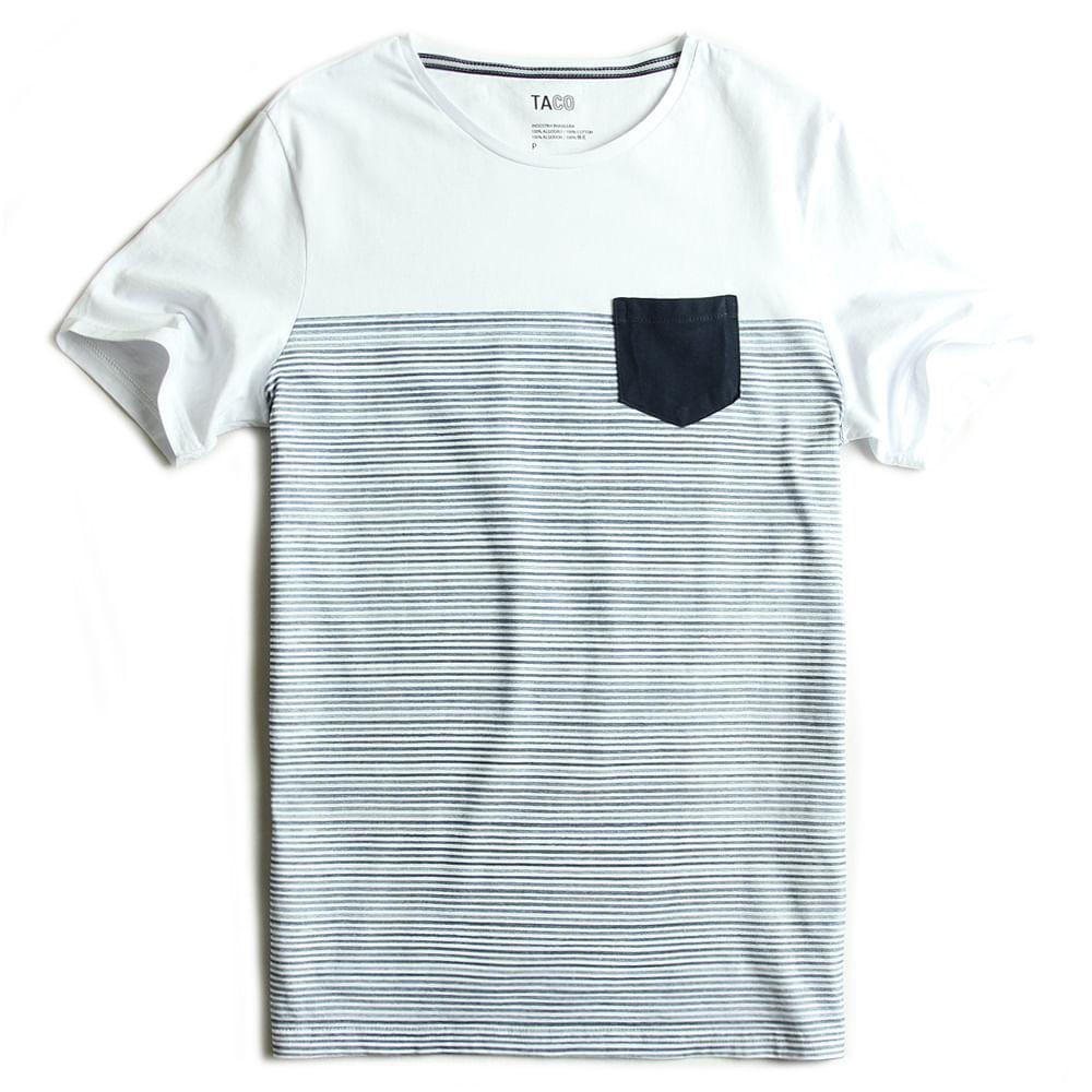 T-shirt-Com-Bolso-Listrada-Branco