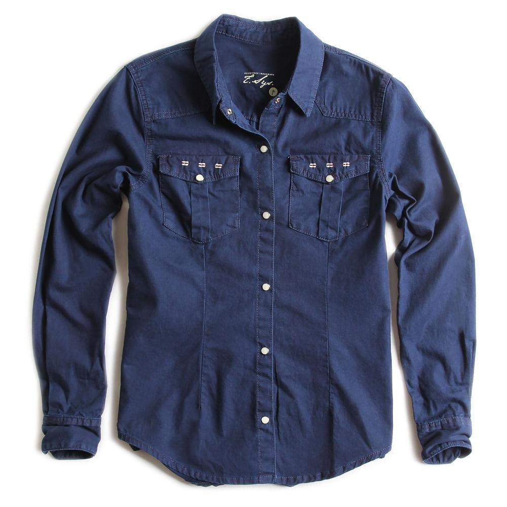 Camisa-de-Tecido-Jeans-Feminina