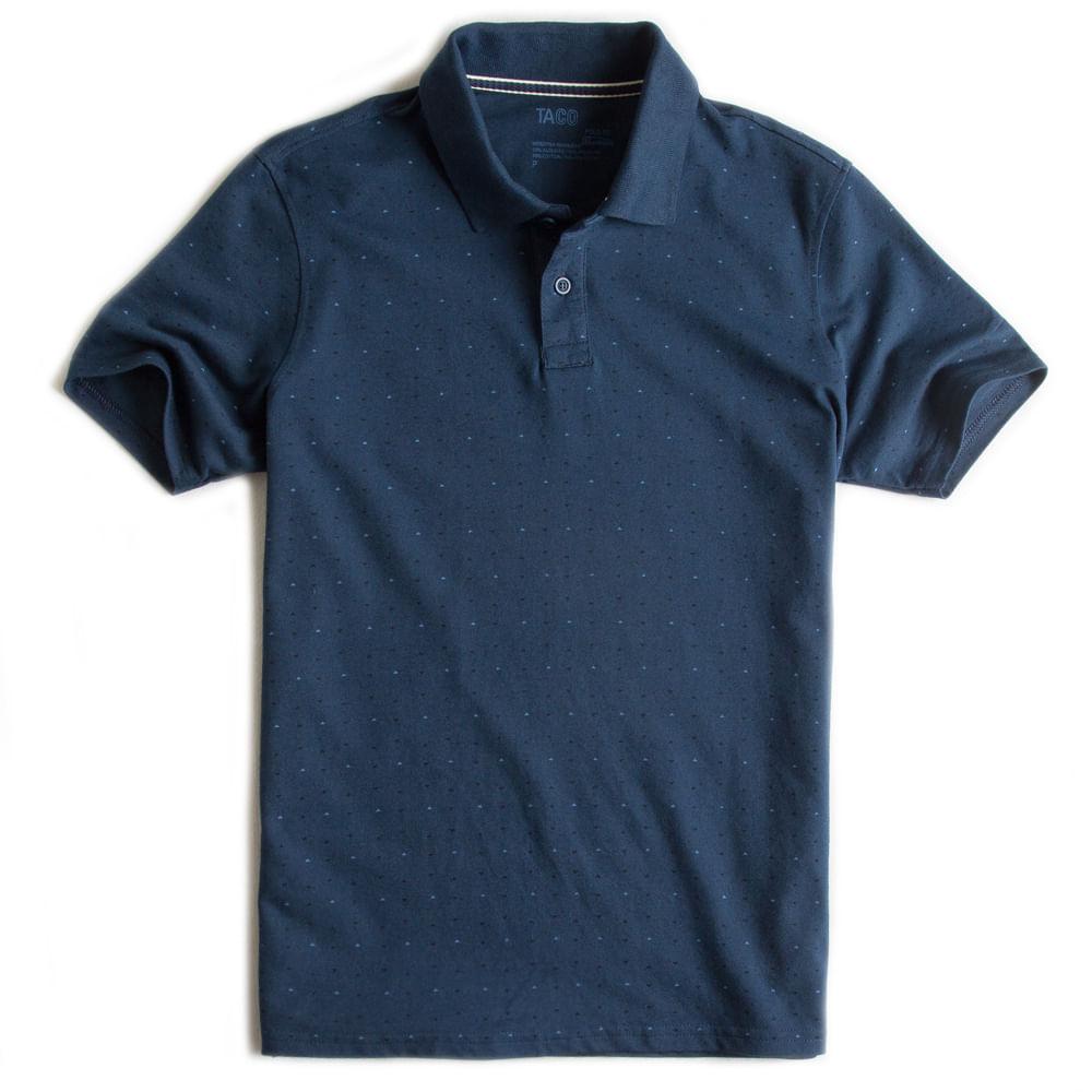 Camisa-Polo-Especial-Estampada-Azul-Marinho