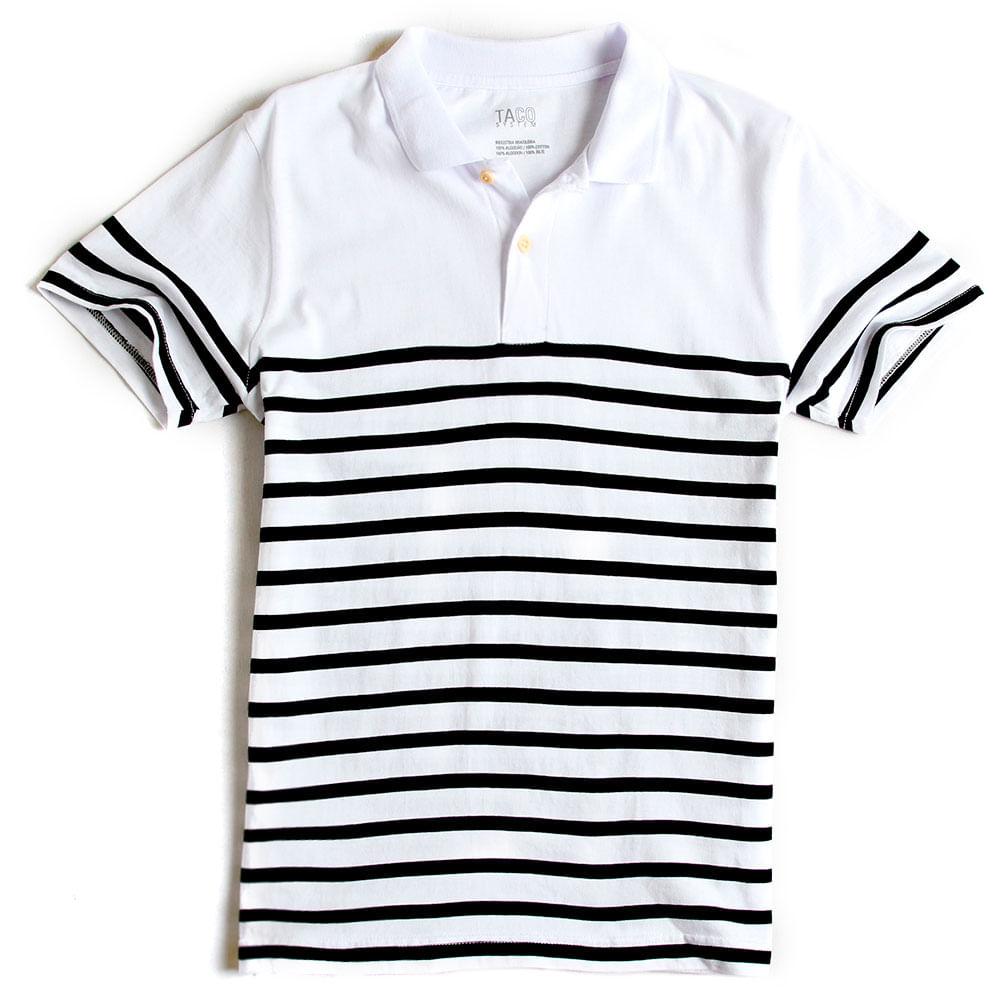 Camisa-Polo-Listrada-Branco---Azul-Marinho