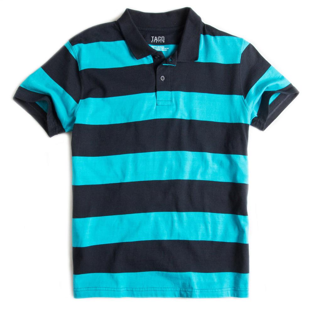 Camisa-Polo-Listrada-Azul-Turquesa---Marinho