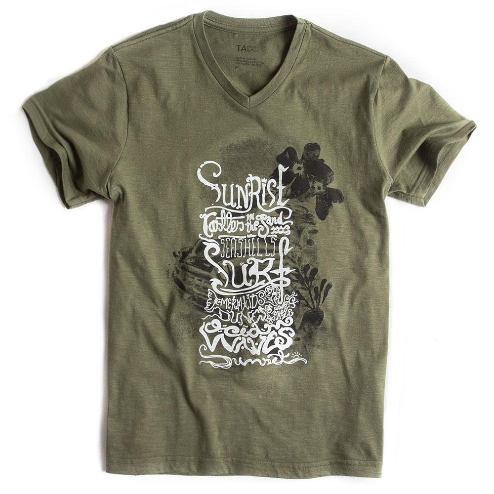 T-shirt-Gola-V-Flame-Estampada-Verde-Militar