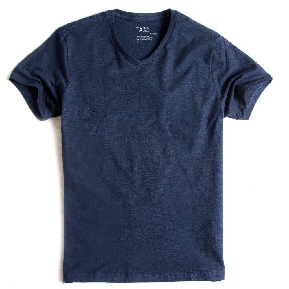 T-shirt-Gola-V-Flame-Basica-Azul-Marinho