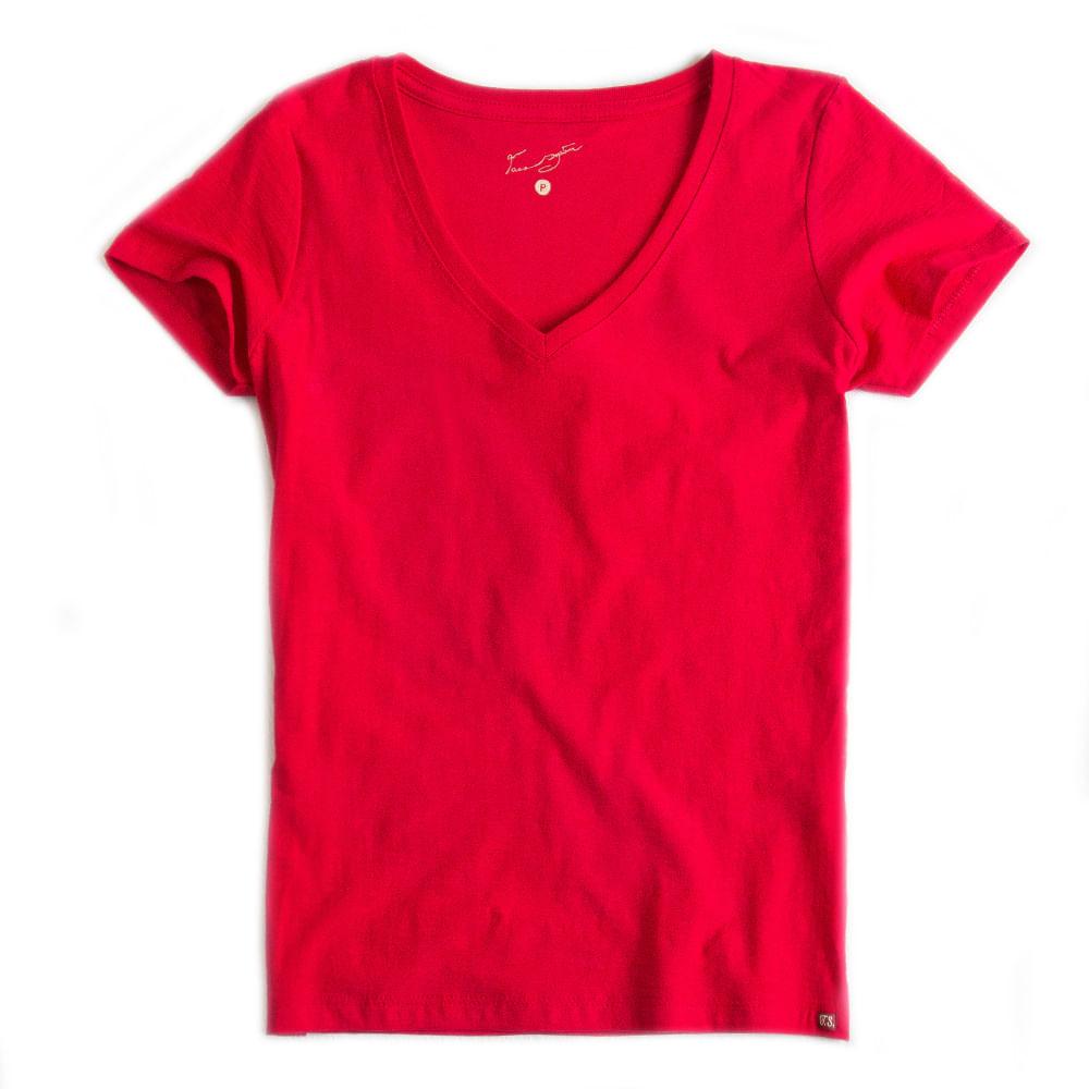 T-shirt-Gola-V-Basica-Flame-Vermelho-Feminino