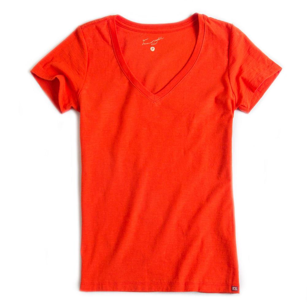 T-shirt-Gola-V-Basica-Flame-Laranja-Feminino