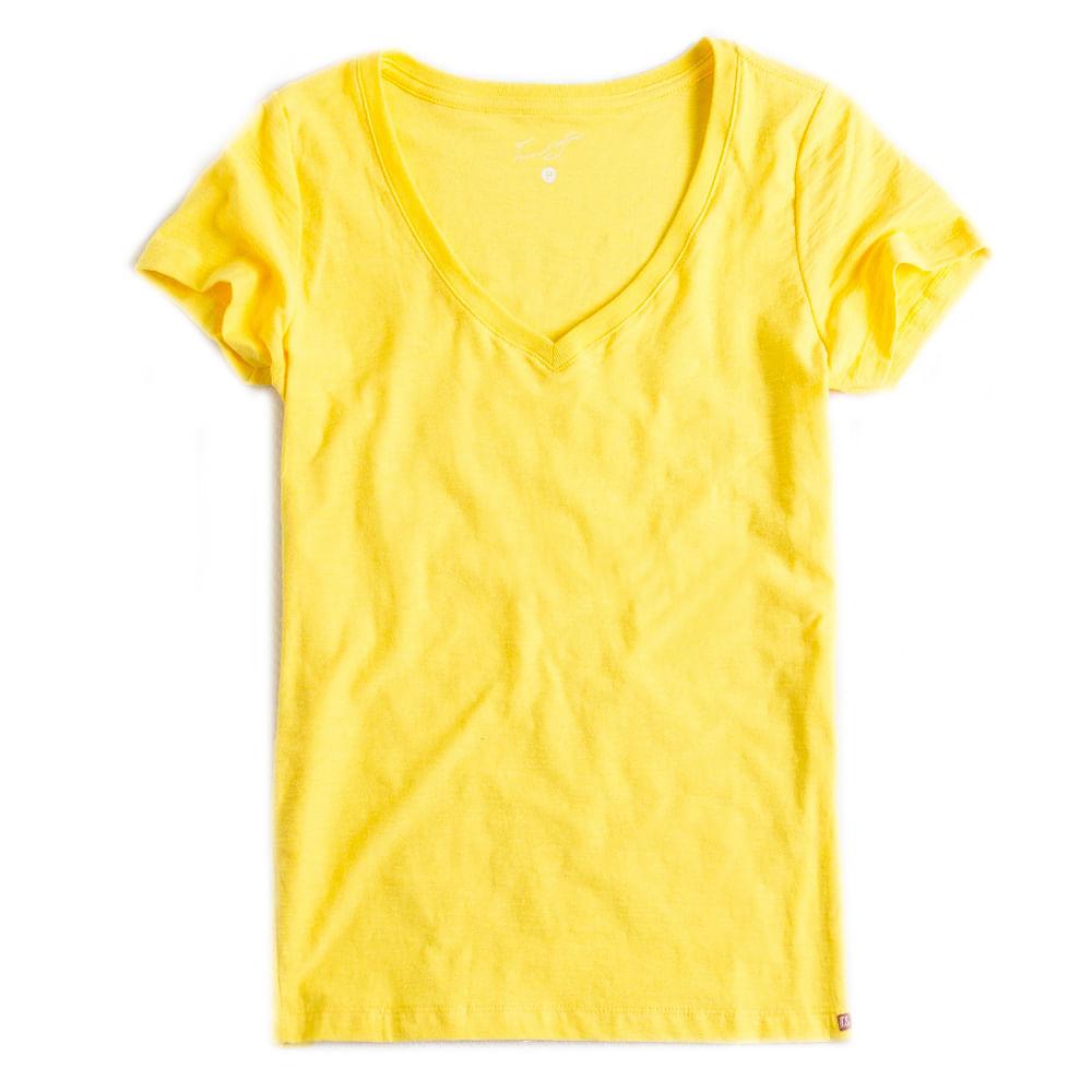 T-shirt-Gola-V-Basica-Flame-Amarelo-Feminino