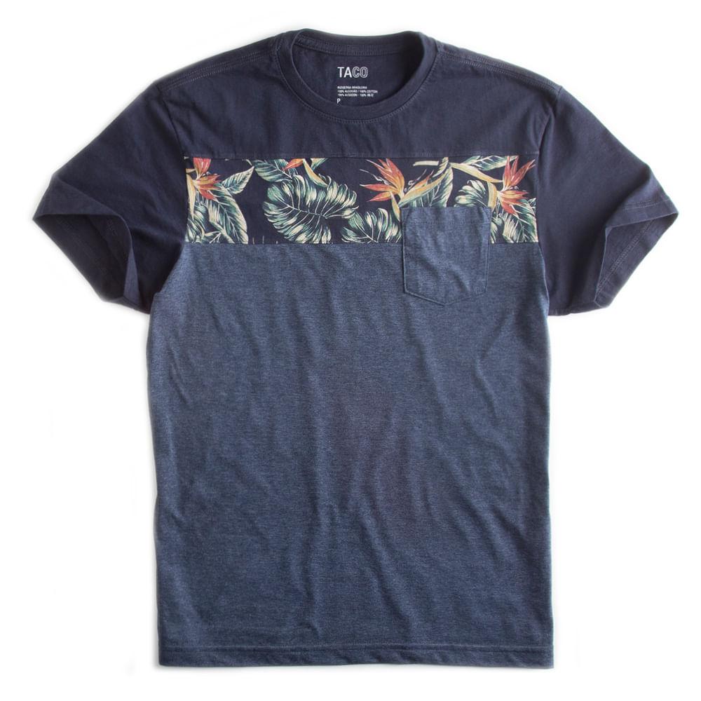 T-shirt-Com-Bolso-Estampada-Azul-Marinho