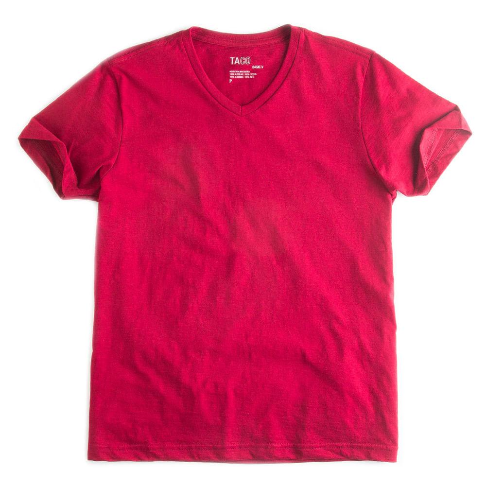 T-shirt-Gola-V-Flame-Basica-Vermelho