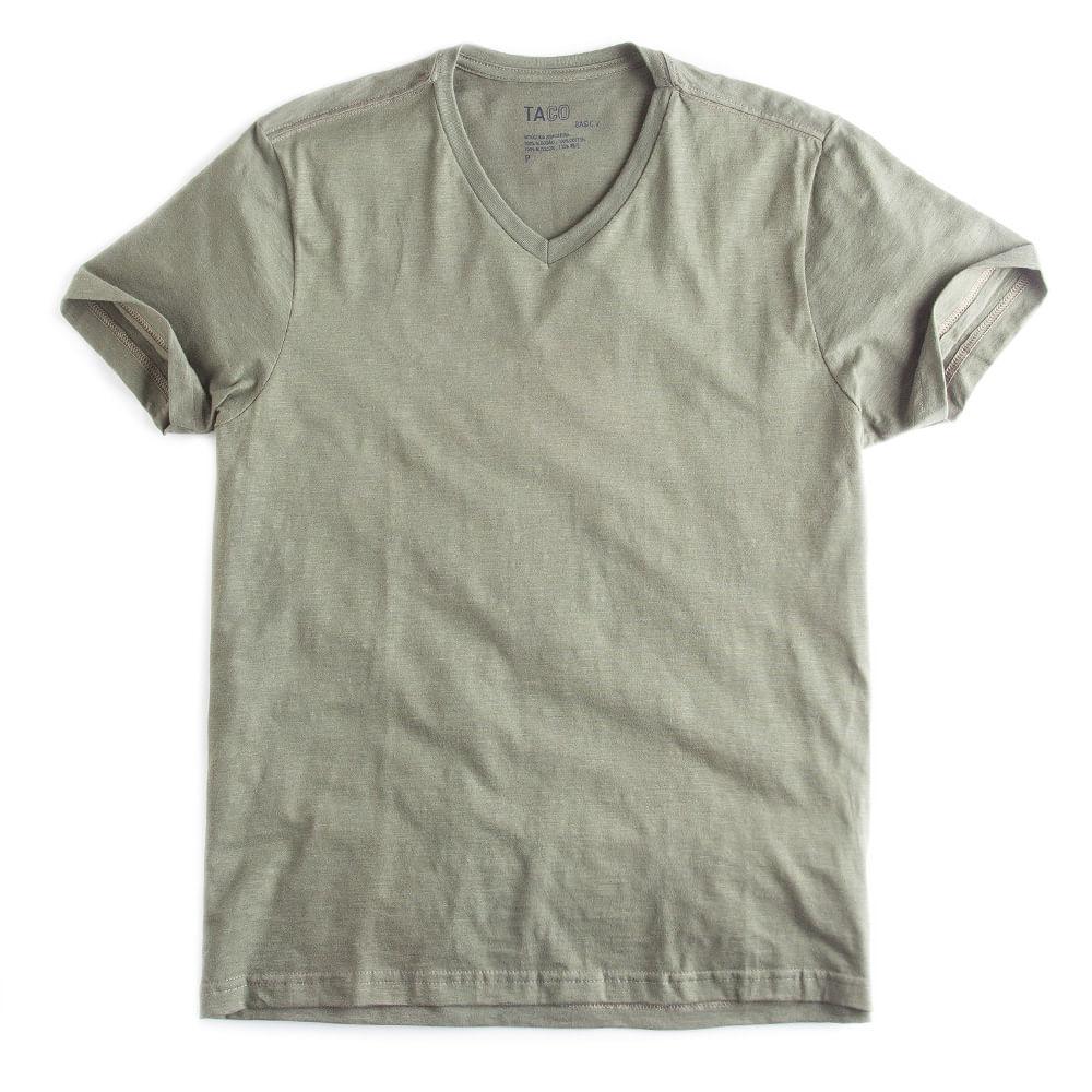 T-shirt-Gola-V-Flame-Basica-Verde-Militar