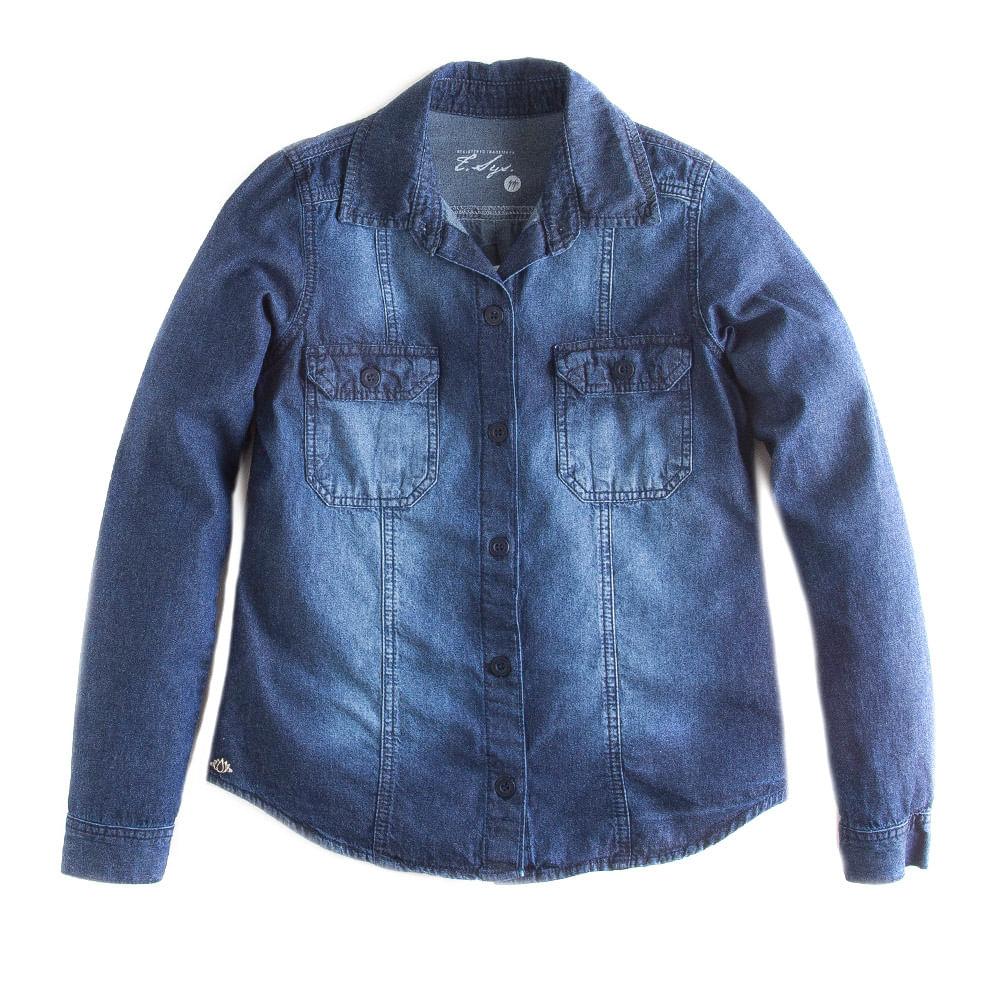 Camisa-Jeans-Manga-Longa-Amaciado-Com-Used-Feminina
