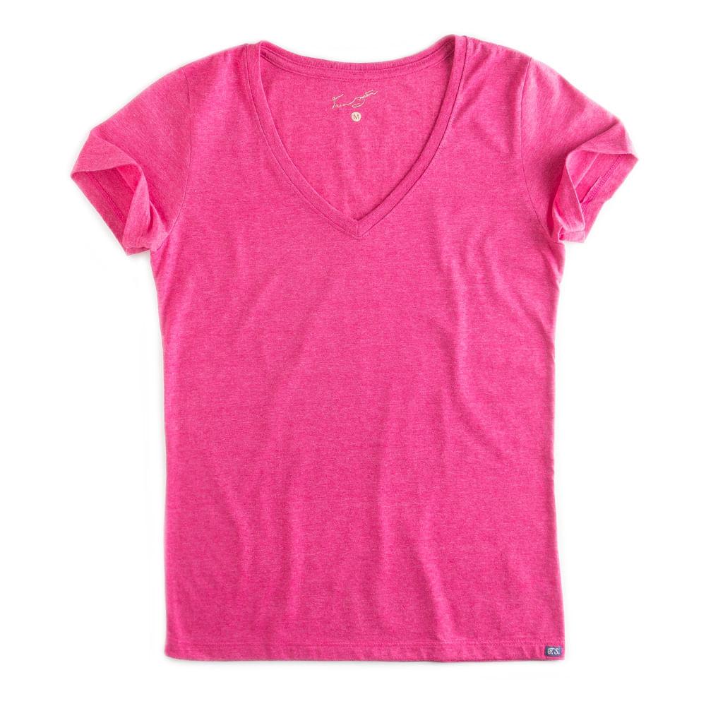 T-shirt-Gola-V-Basica-Rosa-Mescla-Feminina