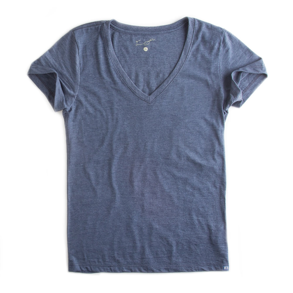 -T-shirt-Gola-V-Basica-Azul-Marinho-Mescla-Feminina