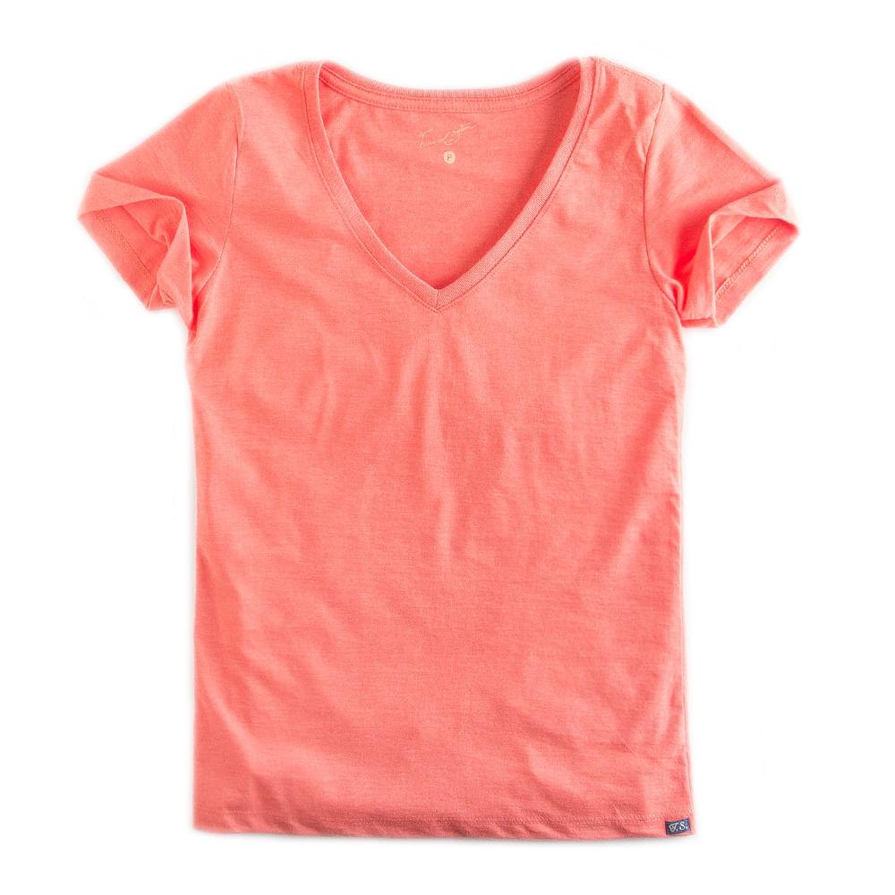 T-shirt-Gola-V-Basica-Laranja-Mescla-Feminina