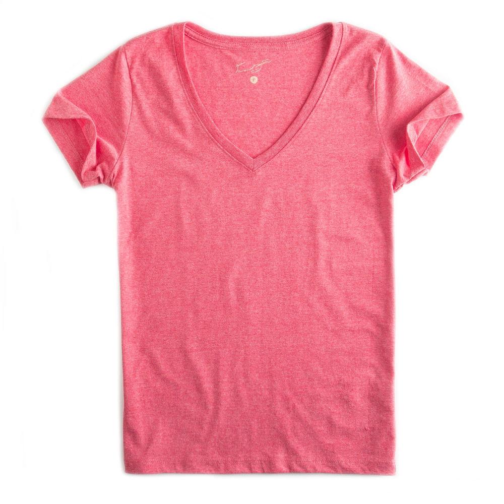 T-shirt-Gola-V-Basica-Vermelho-Mescla-Feminina