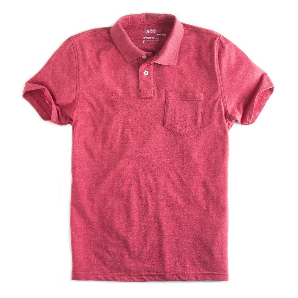 -Camisa-Polo-Basica-Com-Bolso-Vermelho-Mescla