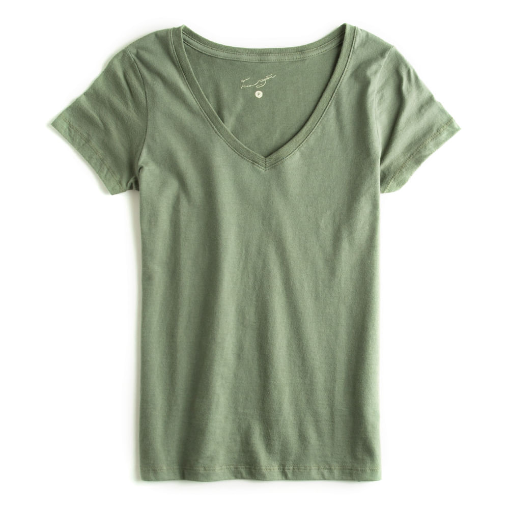 T-shirt-Gola-V-Peletizada-Verde-Militar-Feminina