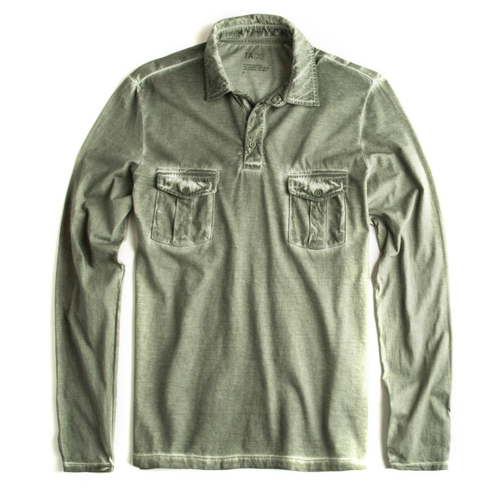 Camisa-Polo-Manga-Longa-Verde-Militar