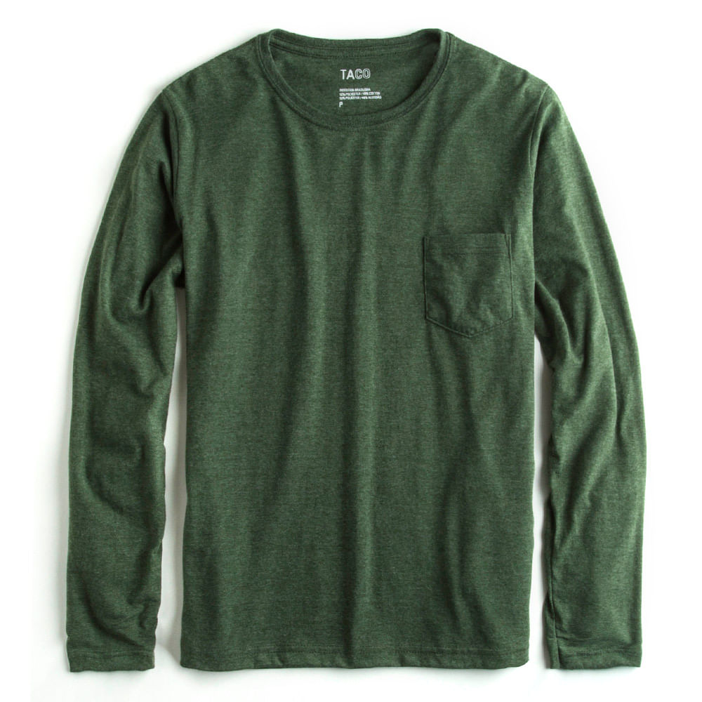 T-shirt-Manga-Longa-Verde-Musgo-Mescla