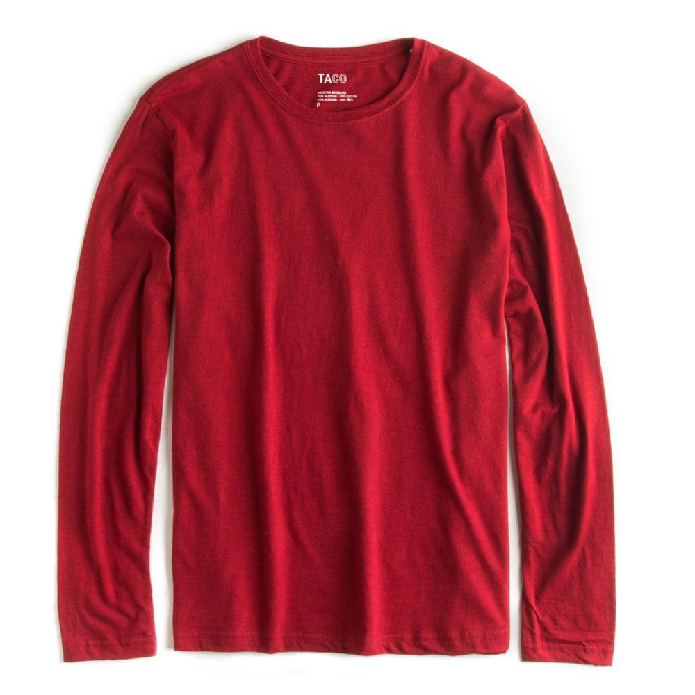 -T-shirt-Flame-Manga-Longa-Vermelha