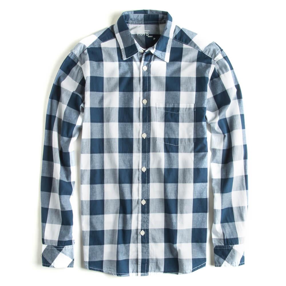 Camisa-Xadrez-Manga-Longa-Branco---Azul