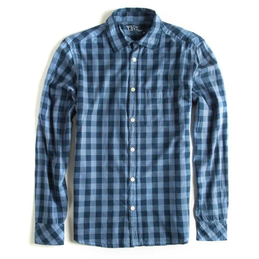 Camisa-Xadrez-Manga-Longa-Azul
