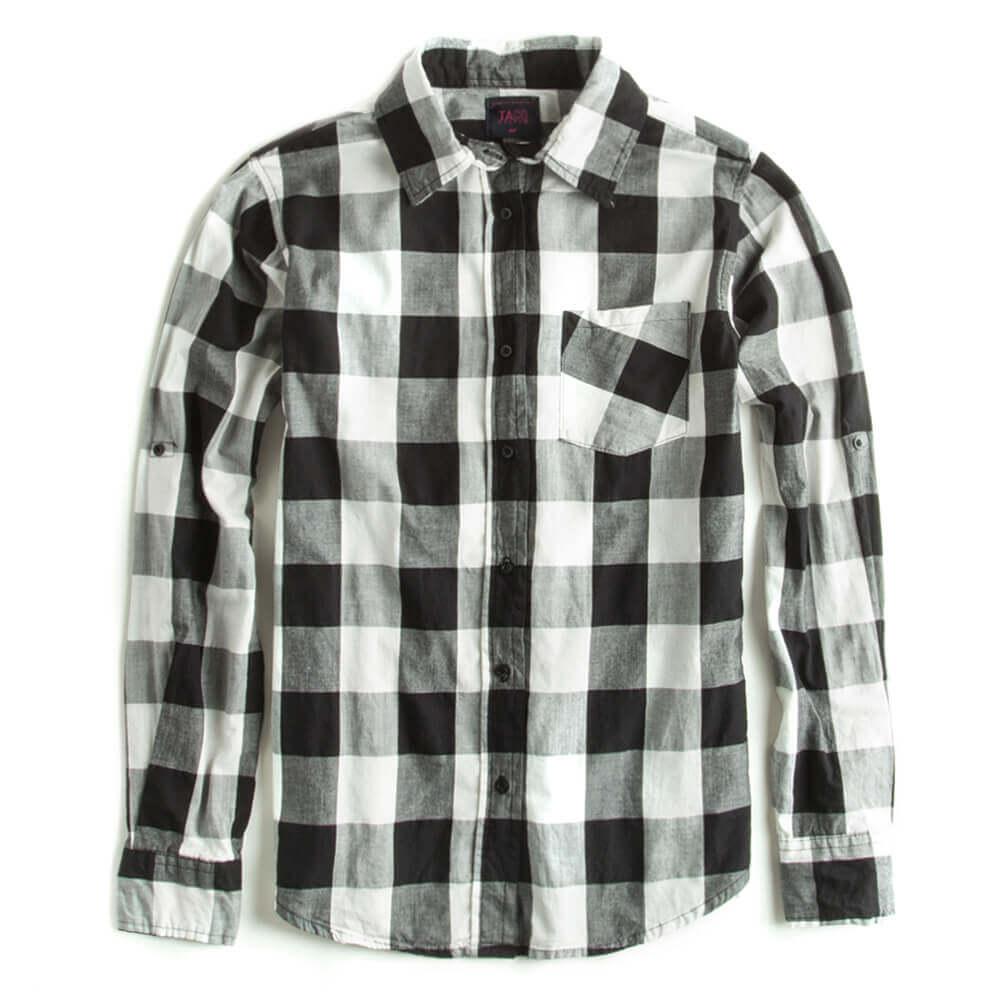 Camisa-De-Tecido-Xadrez-Preta-Feminina