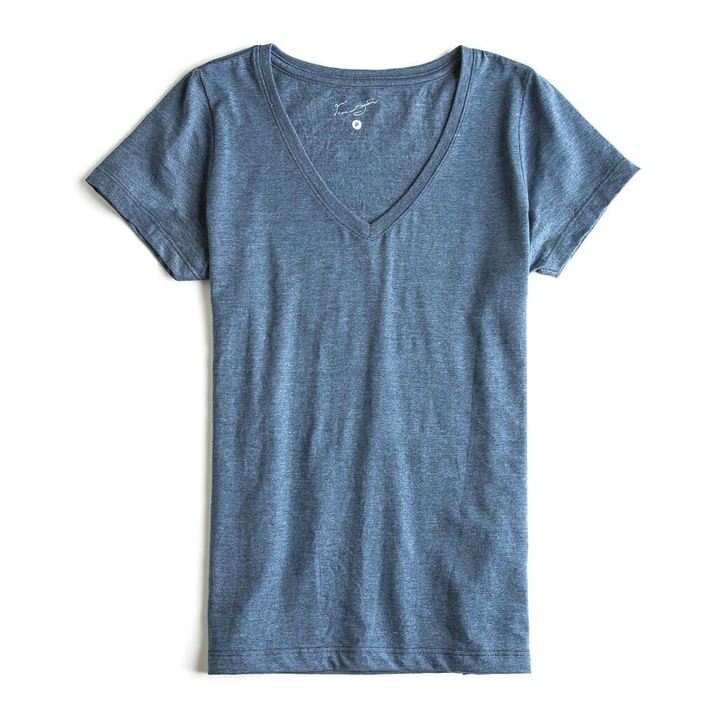 T-shirt-Gola-V-Basica-Azul-Marinho-Mescla-Feminina