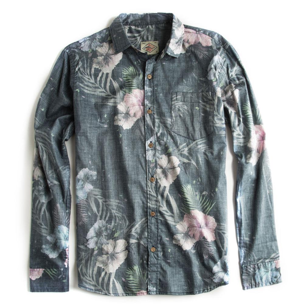 Camisa-De-Tecido-Estampada-Floral-Cinza